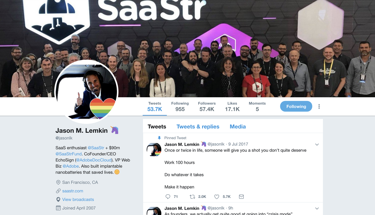 Top Sales Influencers - Jason Lemkin Twitter profile